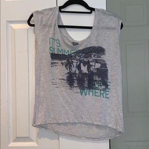 """Aerie """"It's Summer Some Where"""" Grey Shirt"""
